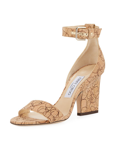 Jimmy Choo Edina Etched Cork Ankle-Wrap Sandal
