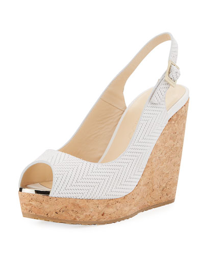 Prova Textured Cork-Wedge Sandal, Off White