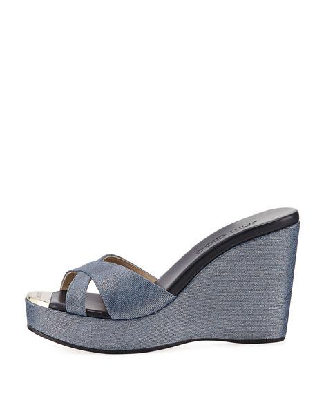 Pandora Metallic Denim Wedge Sandal