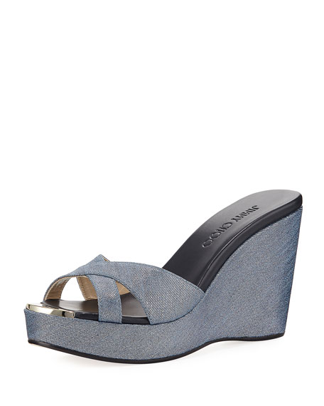 Jimmy Choo Pandora Metallic Denim Wedge Sandal