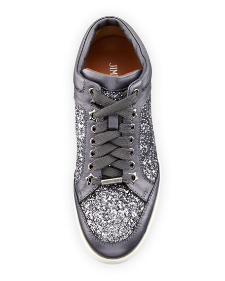 Miami Leather and Star Glitter Sneakers, Pewter