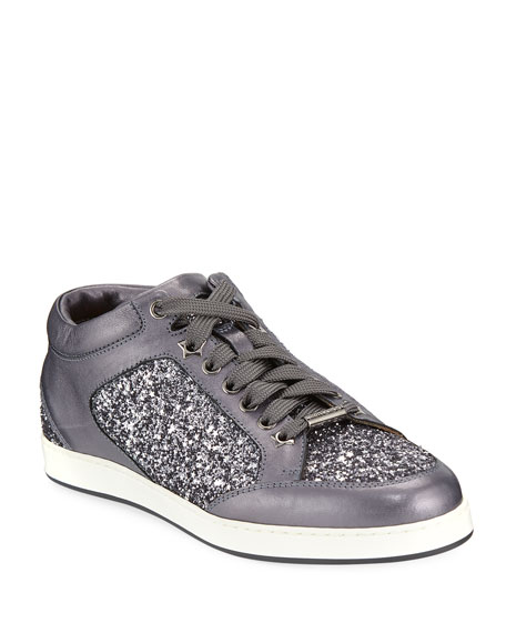Miami Leather and Star Glitter Sneaker, Pewter