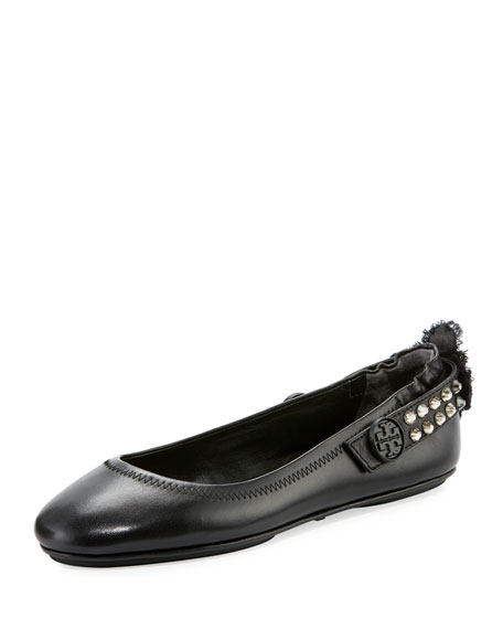 Tory Burch Minnie Two-Way Embellished Leather Ballerina Flat
