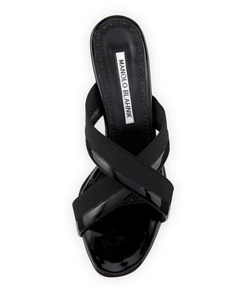 Urto Patent Crisscross Slide Sandal