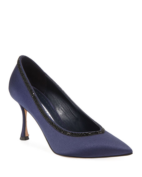 URGENZACRI CRYSTAL-TRIM SATIN PUMPS