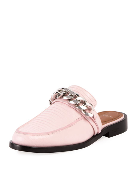 Lizard-Embossed Chain Loafer Mule