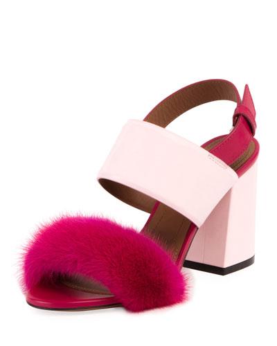 Paris Mink Block-Heel Sandal