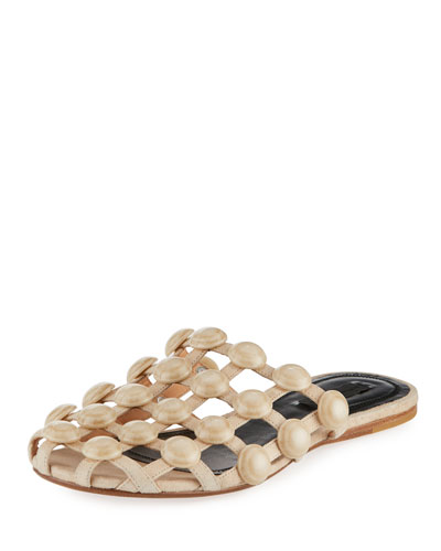 Amelia Grid Studded Caged Leather Mule Flat