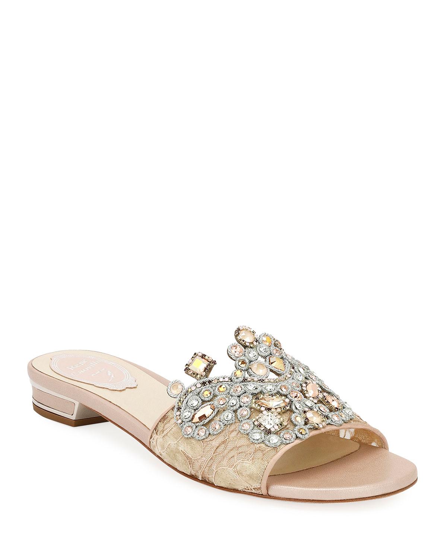 b54e168a33e Rene Caovilla Embellished Flat Lace Slide Sandal