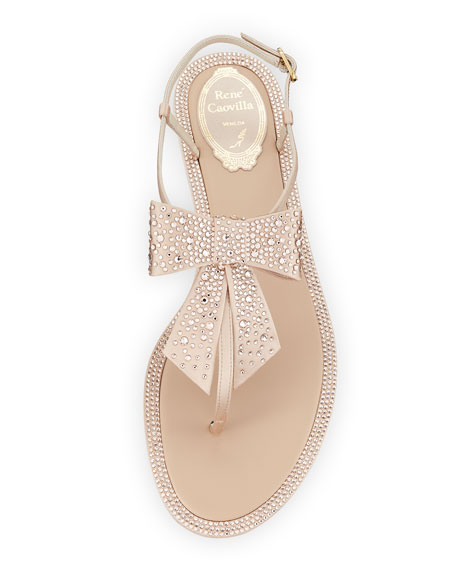 Embellished Satin Flat Bow Sandal