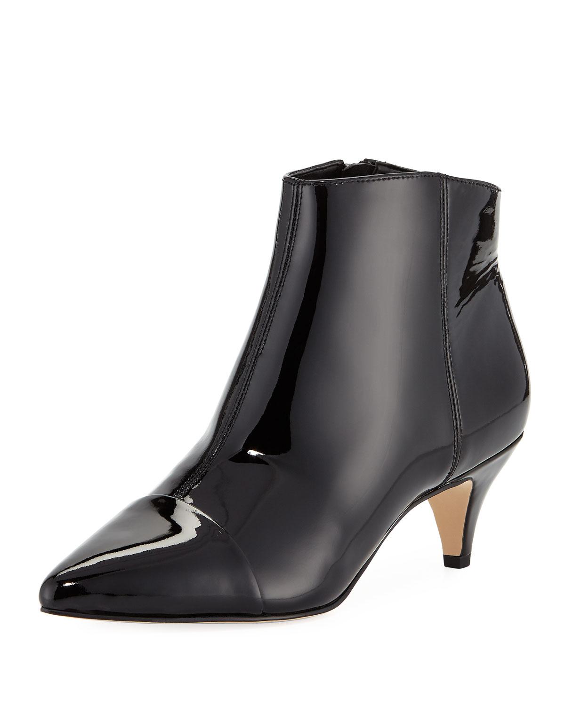 2e605540a Sam Edelman Kinzey Patent Leather Kitten-Heel Booties