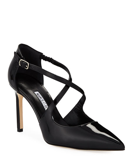 Umice Patent Crisscross Leather Pumps
