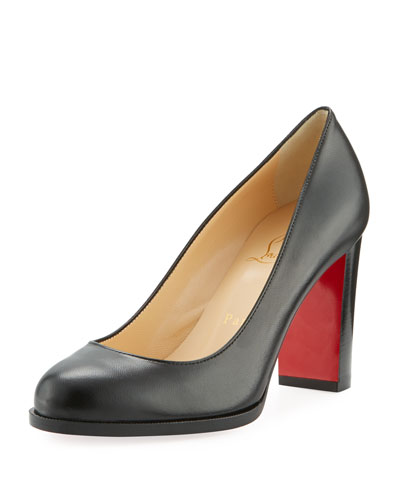 London Buche Block-Heel Napa Red Sole Pump