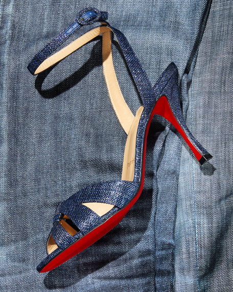 Trezuma 85mm Denim Red Sole Sandal