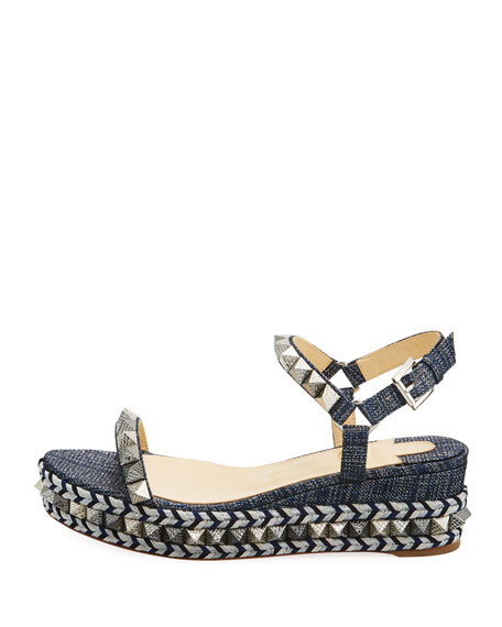Pyraclou Spike Denim Low-Wedge Red Sole Sandal