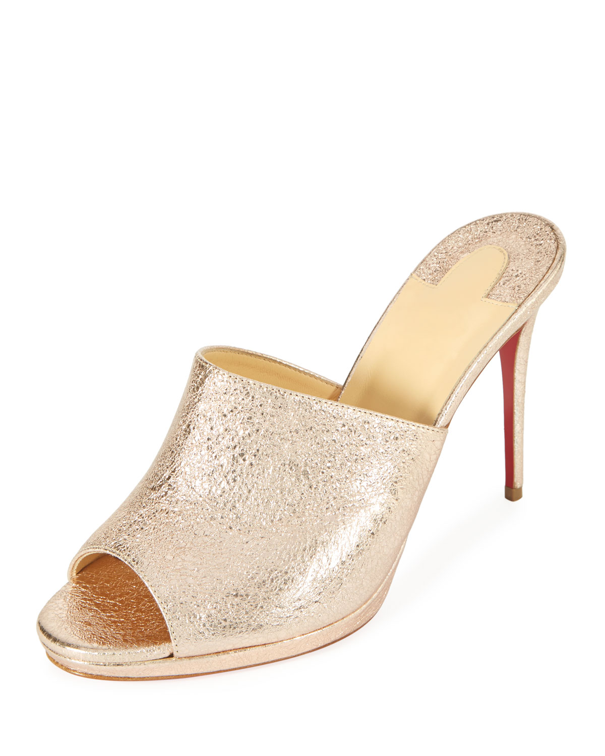 7c83a2ba956b Christian Louboutin Pigamule 100mm Metallic Leather Red Sole Slide Sandal