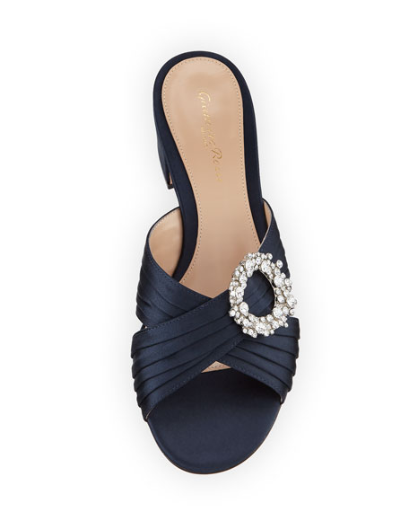 Satin Embellished Slide Sandal