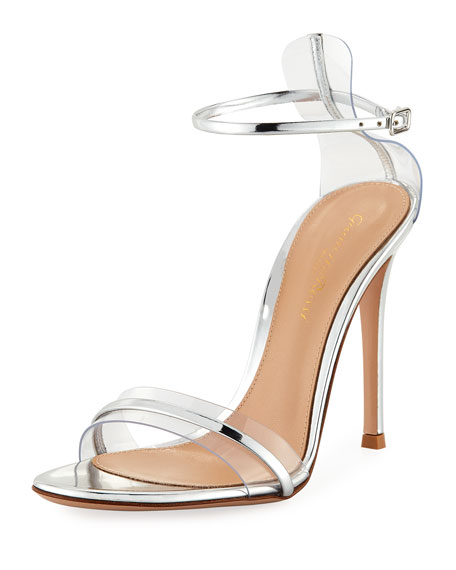 Gianvito Rossi Plexi/Metallic 105mm Ankle-Wrap Sandal