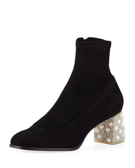 SOPHIA WEBSTER Felicity Crystal-Embellished Suede Ankle Boots in Black