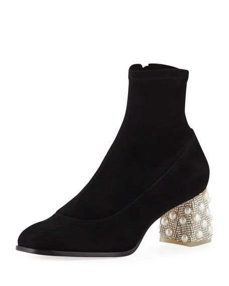Felicity Embellished Suede Sock Boots, Black Pearl