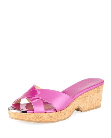 Lang Shimmer Patent Strappy Sandal