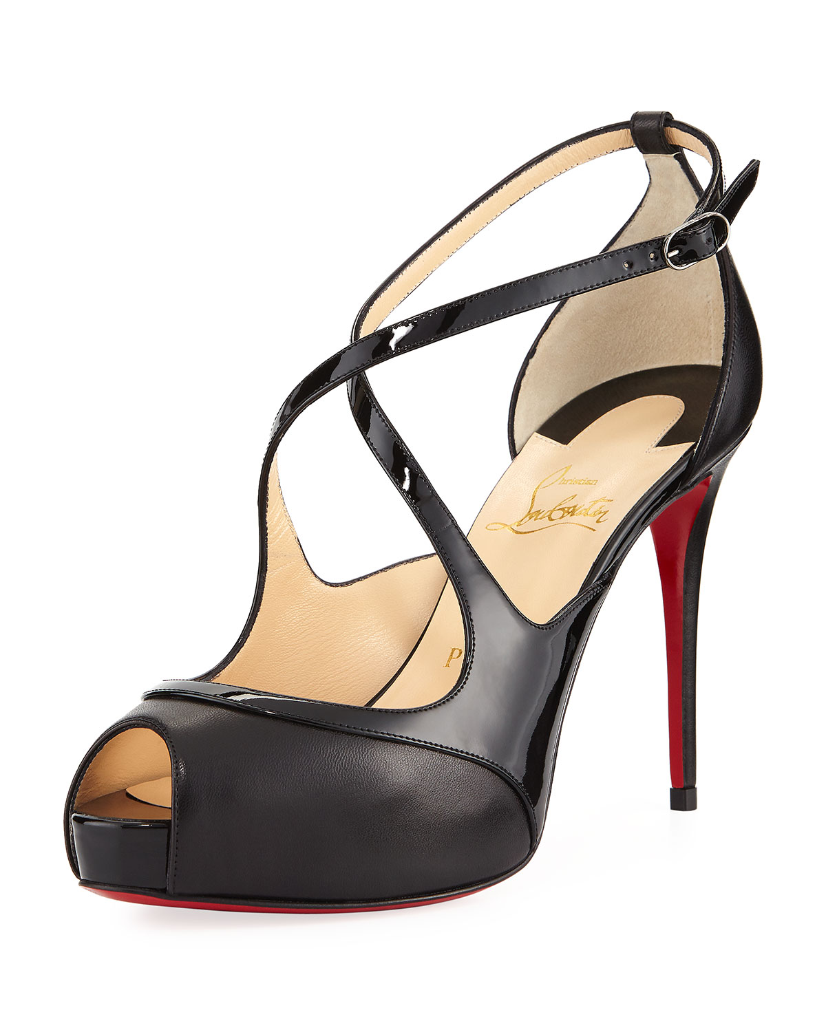 b0d164f3bd46 Christian Louboutin Mirabella Strappy 100mm Red Sole Pumps