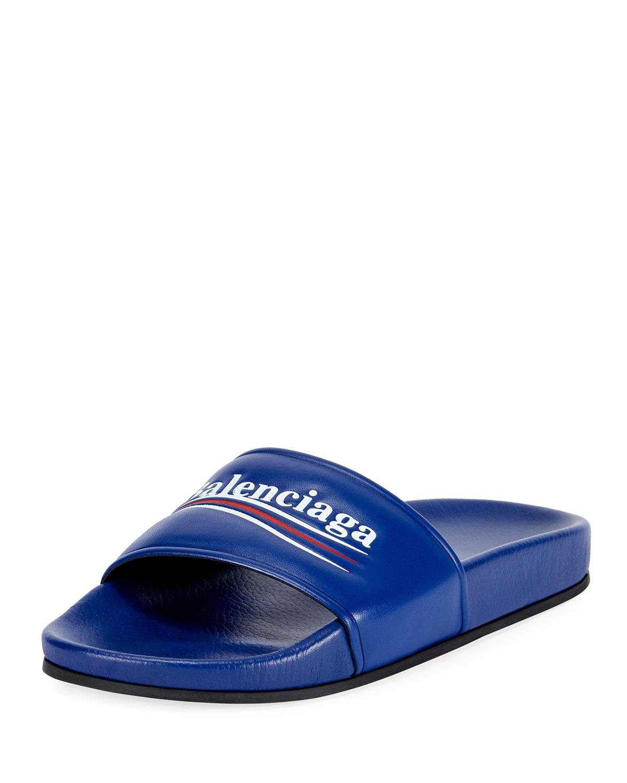 290963c6121c Balenciaga Logo Campaign Flat Pool Slide Sandal
