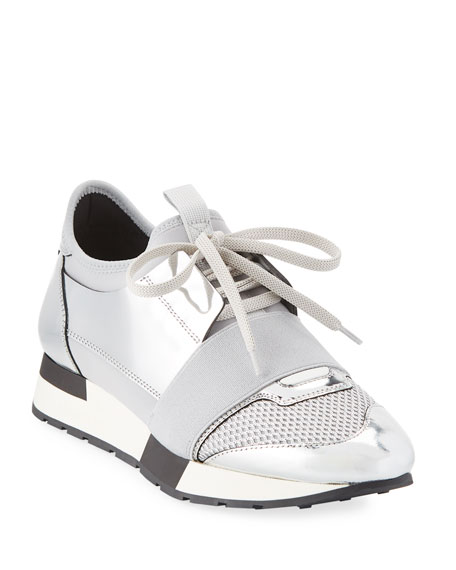 Race Runner Metallic Leather, Mesh And Neoprene Sneakers, Argent from STYLEBOP.com