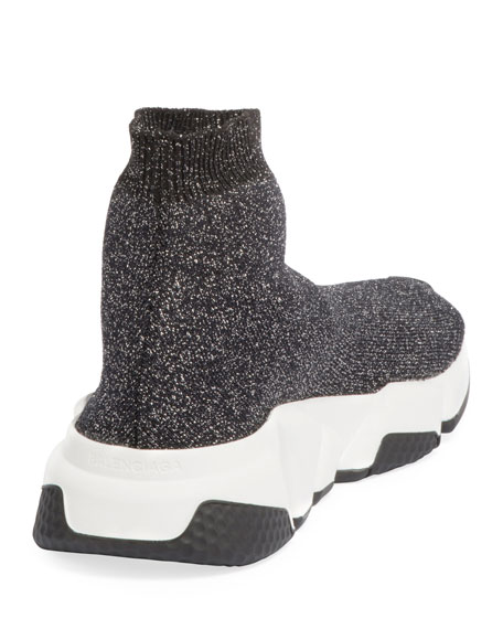 Metallic Knit High-Top Sock Sneakers