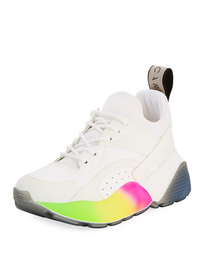 Rainbow-Sole Lace-Up Sneaker