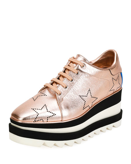 Sneak- Elyse Shoes In Rose Gold Faux Leather in Metallic