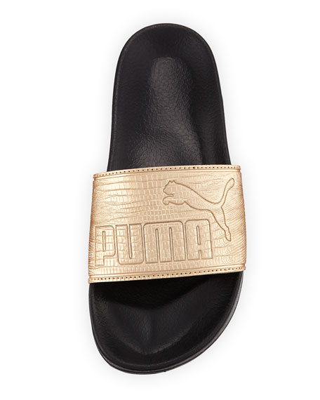 Leadcat Two-Tone Leather Pool Slide Sandal