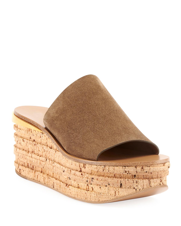Chloe Camille Suede Wedge Slide Sandals