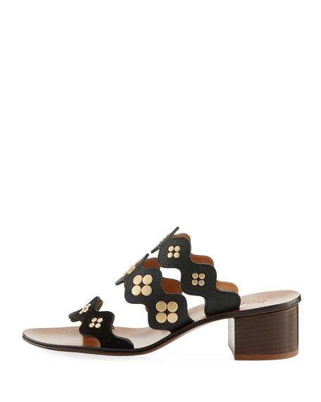 Lauren Studded Block-Heel Slide Sandal