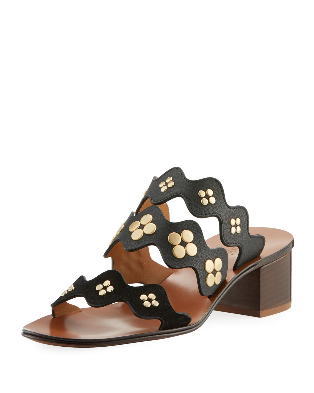 Chloe Lauren Studded Block-Heel Slide Sandal  63c0741ac12