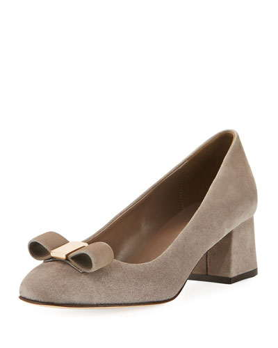 Mara Bow Soft-Suede Pump, Light Taupe