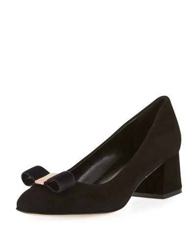 Mara Bow Soft-Suede Pump, Black