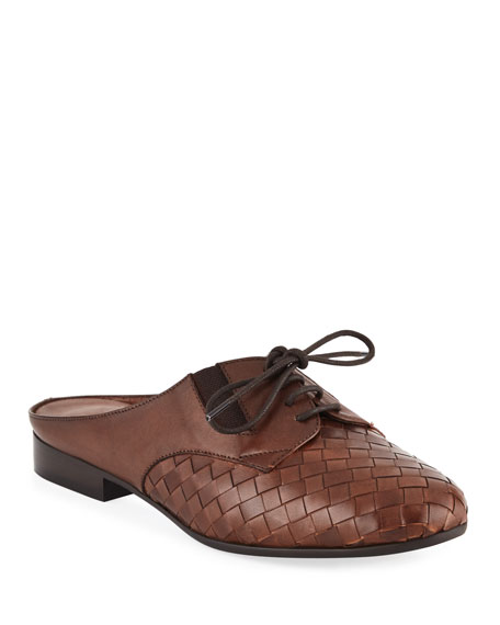 Neala Woven Slide Oxford Mule, Brown