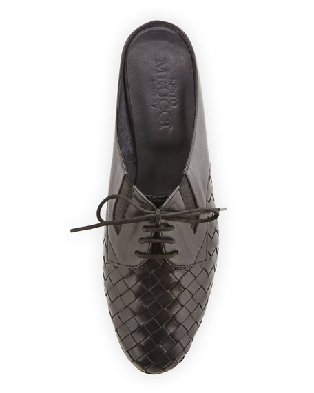 Neala Woven Slide Oxford Mule, Black