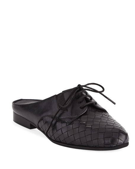 Sesto Meucci Neala Woven Slide Oxford Mule, Black