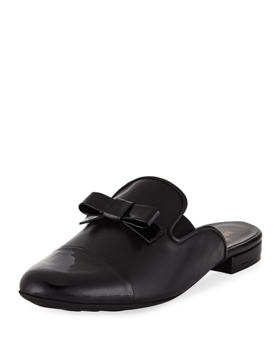 Kare Leather Bow Slide Mule, Black
