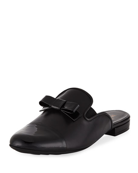 Sesto Meucci Kare Leather Bow Slide Mule, Black