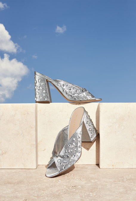 Laurel Crinkle Metallic Mule Sandal with Jewels