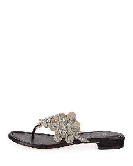 Livewire Floral-Chain Flat Thong Sandal