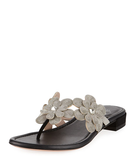 Stuart Weitzman Livewire Floral-Chain Flat Thong Sandal