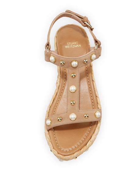 Beraffia Embellished Suede Wedge Sandal