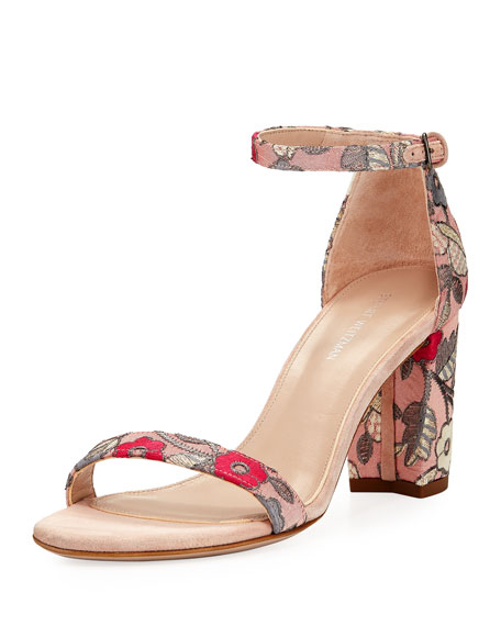 Stuart Weitzman Nearlynude Blossom Embroidered City Sandal