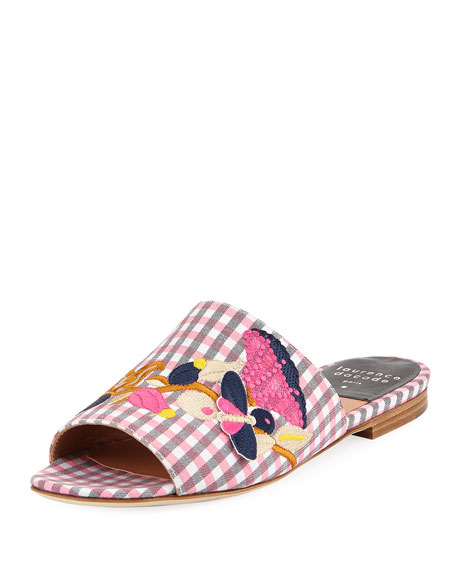 Laurence Dacade Nice Embroidered Gingham Slide Sandal