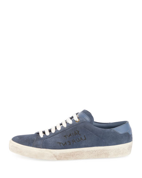 Court Classic Logo-Writing Suede Low-Top Sneakers