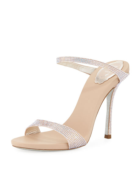 Rene Caovilla Embellished Satin Two-Band Slide Sandal